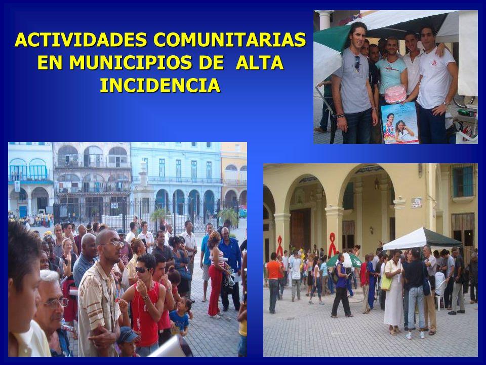 ACTIVIDADES COMUNITARIAS EN MUNICIPIOS DE ALTA INCIDENCIA