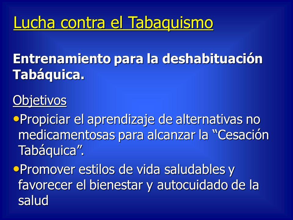 Lucha contra el Tabaquismo Objetivos Propiciar el aprendizaje de alternativas no medicamentosas para alcanzar la Cesación Tabáquica. Propiciar el apre