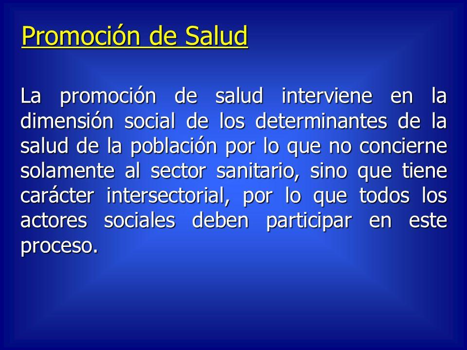 Promoción de Salud La promoción de salud interviene en la dimensión social de los determinantes de la salud de la población por lo que no concierne so