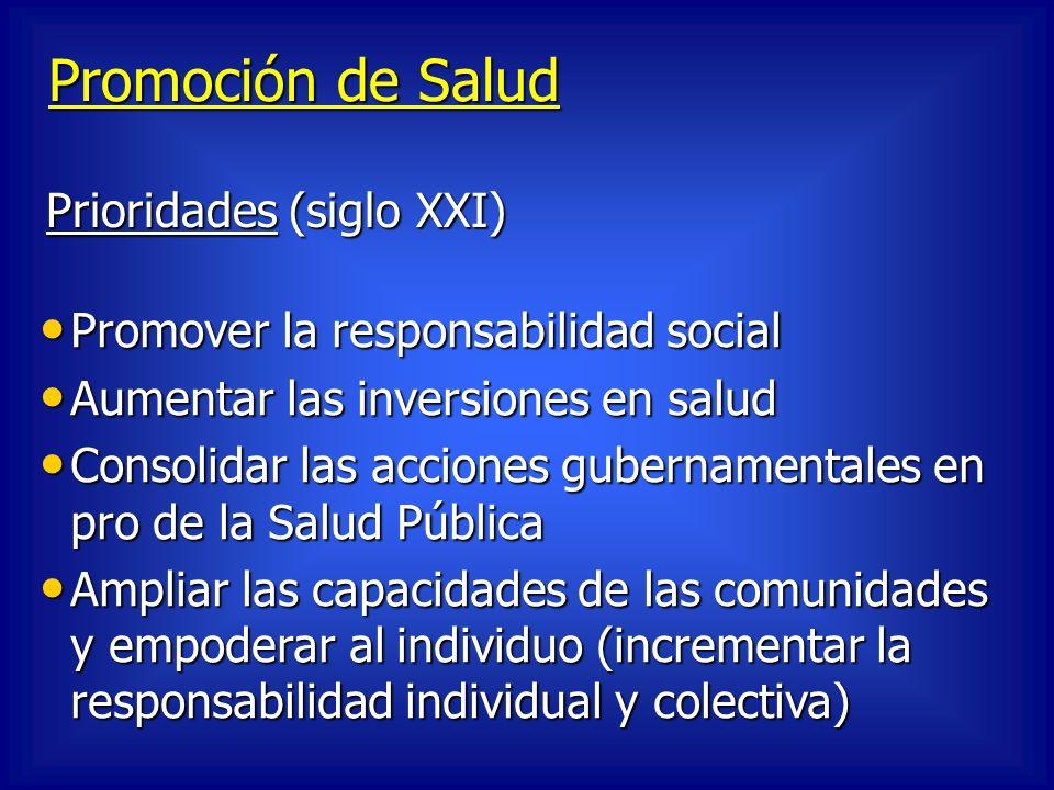 Promoción de Salud Promover la responsabilidad social Promover la responsabilidad social Aumentar las inversiones en salud Aumentar las inversiones en
