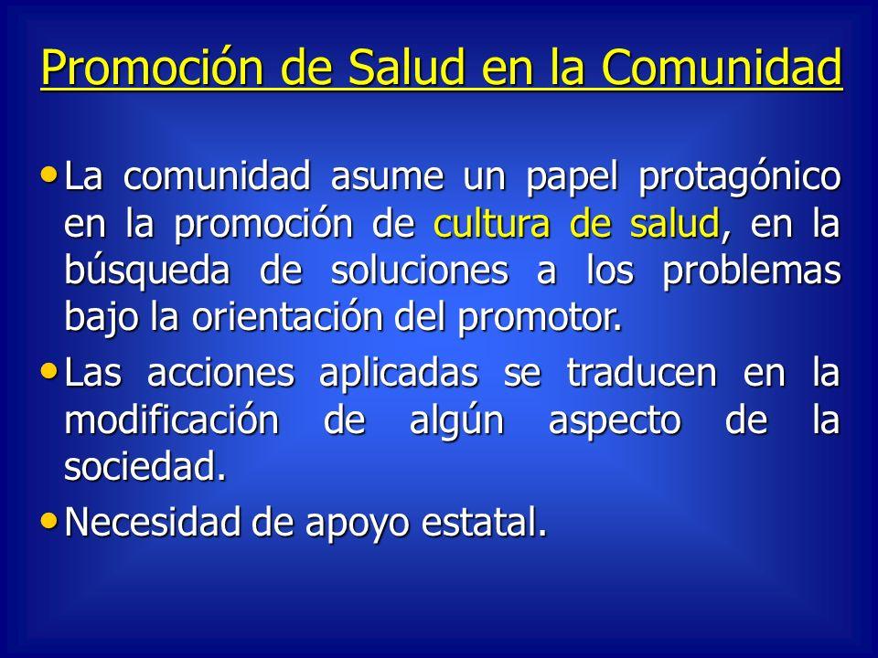 Promoción de Salud en la Comunidad La comunidad asume un papel protagónico en la promoción de cultura de salud, en la búsqueda de soluciones a los pro