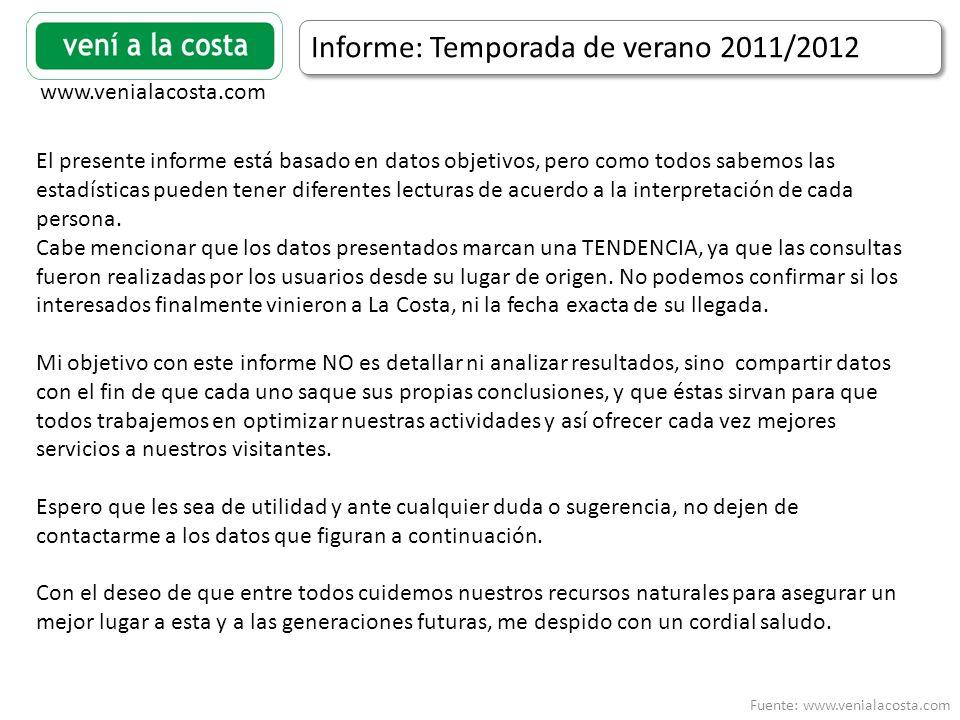 Fuente: www.venialacosta.com www.venialacosta.com Informe: Temporada de verano 2011/2012 El presente informe está basado en datos objetivos, pero como todos sabemos las estadísticas pueden tener diferentes lecturas de acuerdo a la interpretación de cada persona.