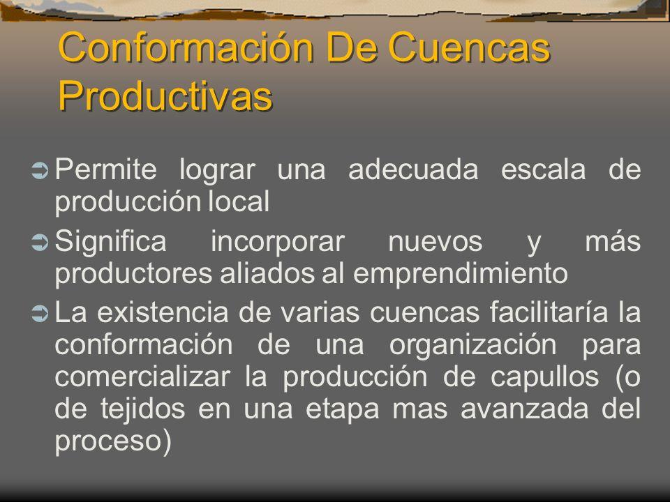 Conformación De Cuencas Productivas Permite lograr una adecuada escala de producción local Significa incorporar nuevos y más productores aliados al em