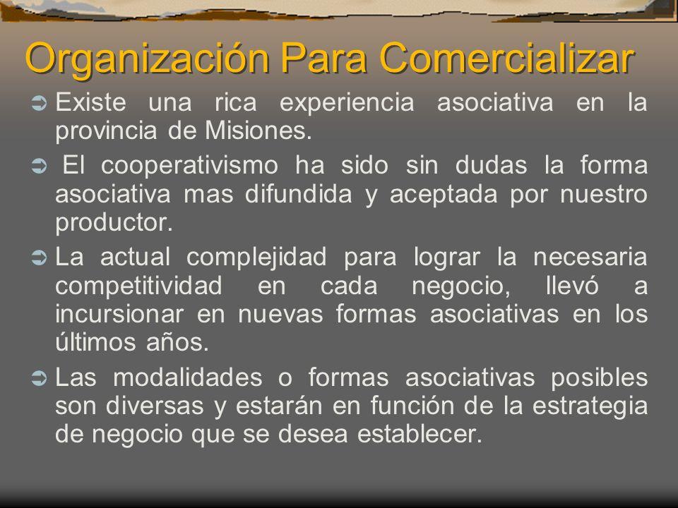 Organización Para Comercializar Existe una rica experiencia asociativa en la provincia de Misiones. El cooperativismo ha sido sin dudas la forma asoci