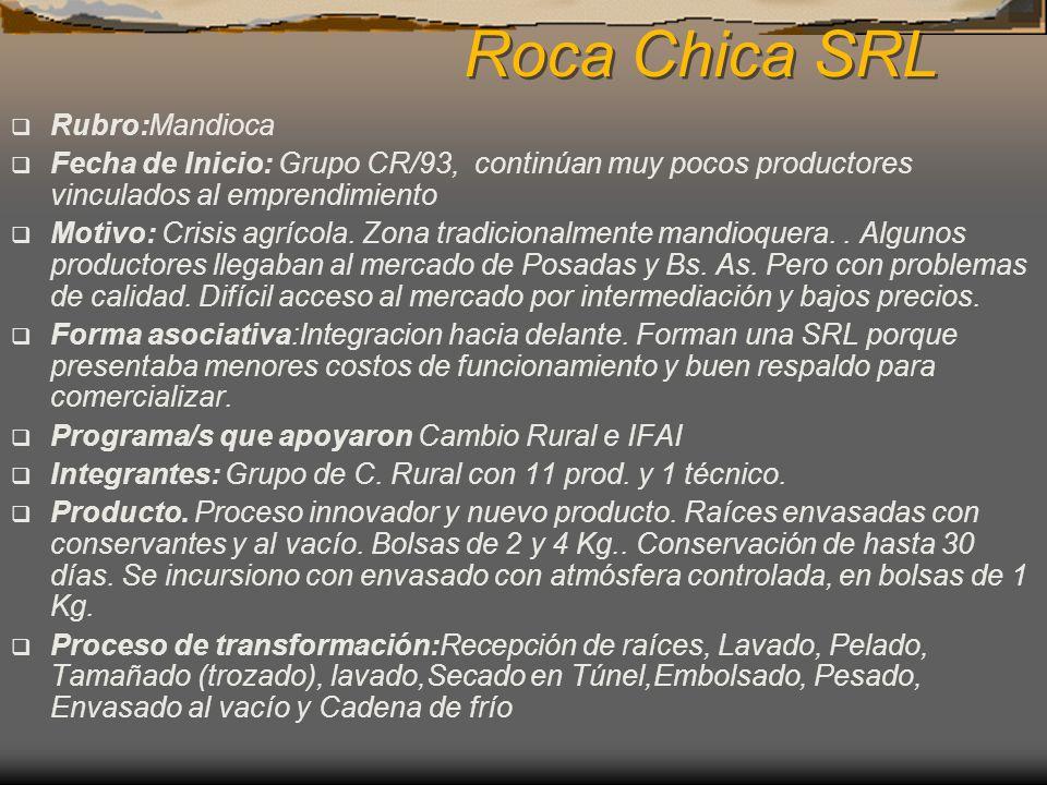 Roca Chica SRL Rubro:Mandioca Fecha de Inicio: Grupo CR/93, continúan muy pocos productores vinculados al emprendimiento Motivo: Crisis agrícola. Zona