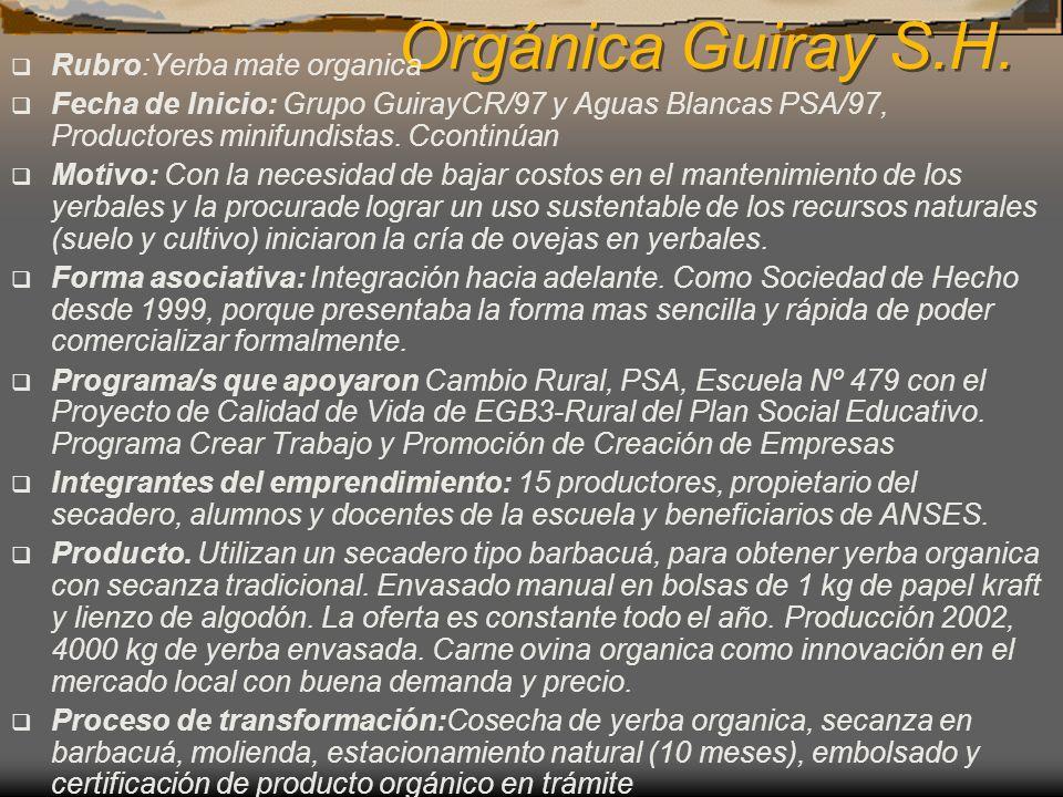 Orgánica Guiray S.H. Rubro:Yerba mate organica Fecha de Inicio: Grupo GuirayCR/97 y Aguas Blancas PSA/97, Productores minifundistas. Ccontinúan Motivo