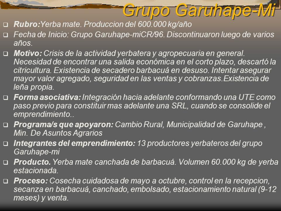 Grupo Garuhape-Mi Rubro:Yerba mate. Produccion del 600.000 kg/año Fecha de Inicio: Grupo Garuhape-miCR/96. Discontinuaron luego de varios años. Motivo