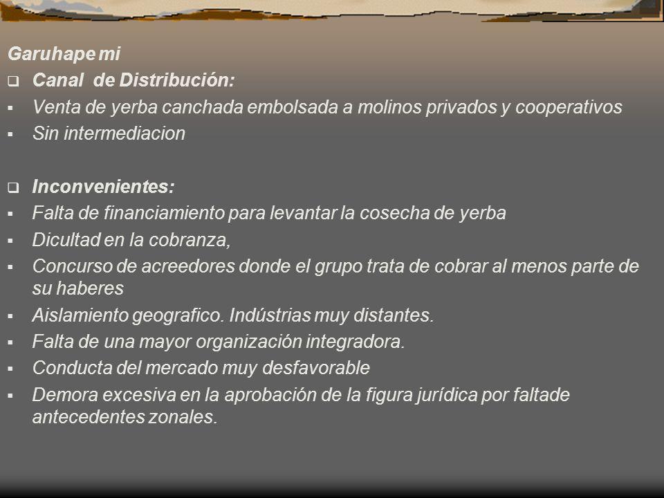 Garuhape mi Canal de Distribución: Venta de yerba canchada embolsada a molinos privados y cooperativos Sin intermediacion Inconvenientes: Falta de fin