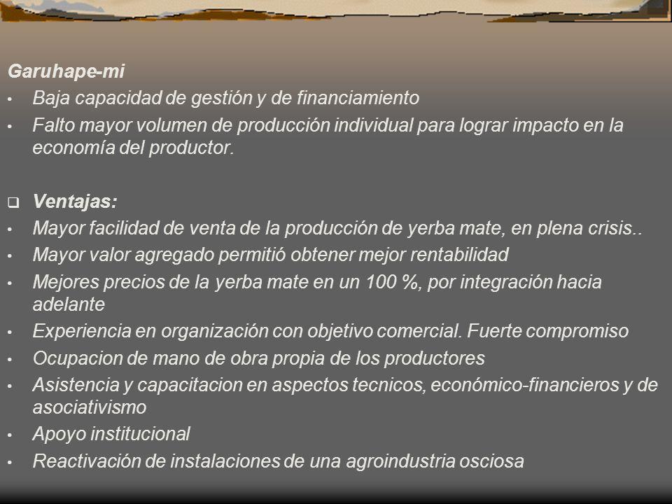 Garuhape-mi Baja capacidad de gestión y de financiamiento Falto mayor volumen de producción individual para lograr impacto en la economía del producto
