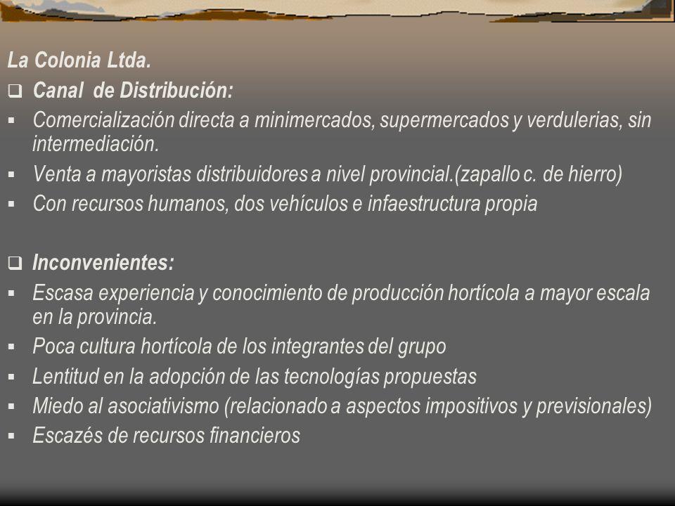La Colonia Ltda. Canal de Distribución: Comercialización directa a minimercados, supermercados y verdulerias, sin intermediación. Venta a mayoristas d