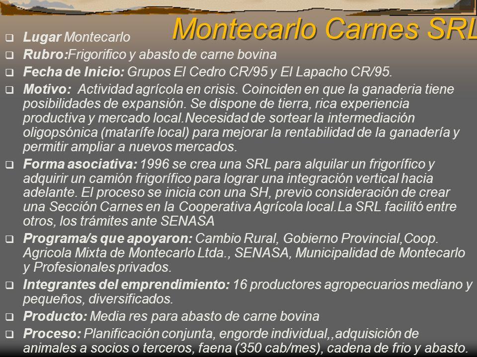 Montecarlo Carnes SRL Lugar Montecarlo Rubro:Frigorifico y abasto de carne bovina Fecha de Inicio: Grupos El Cedro CR/95 y El Lapacho CR/95. Motivo: A
