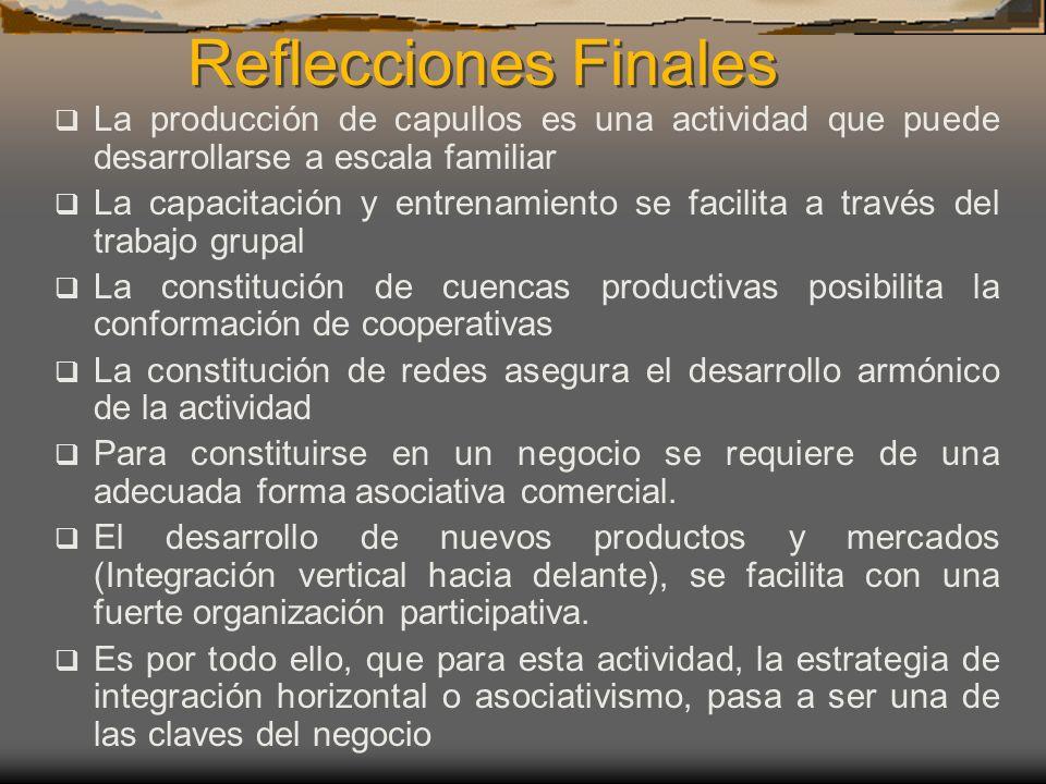Reflecciones Finales La producción de capullos es una actividad que puede desarrollarse a escala familiar La capacitación y entrenamiento se facilita
