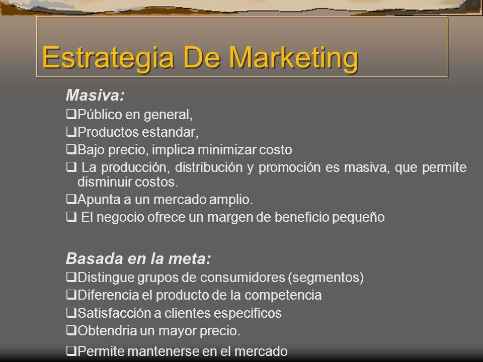 Estrategia De Marketing Masiva: Público en general, Productos estandar, Bajo precio, implica minimizar costo La producción, distribución y promoción e