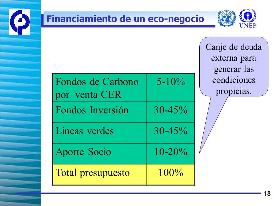 18 Fondos de Carbono por venta CER 5-10% Fondos Inversión30-45% Líneas verdes30-45% Aporte Socio10-20% Total presupuesto100% Financiamiento de un eco-negocio Canje de deuda externa para generar las condiciones propicias.