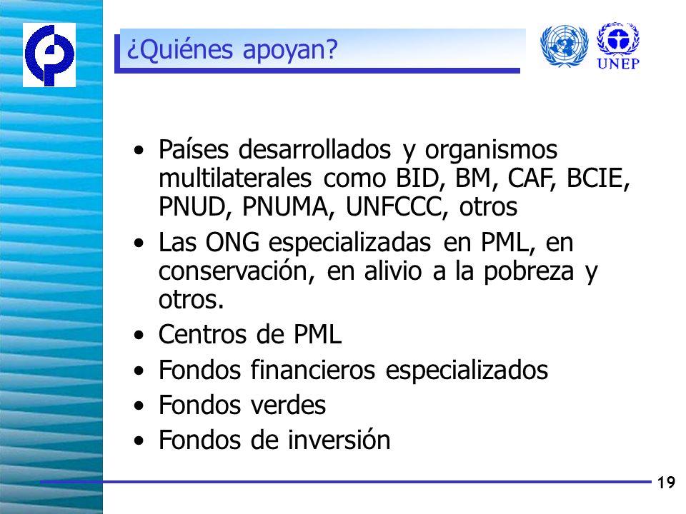 19 Países desarrollados y organismos multilaterales como BID, BM, CAF, BCIE, PNUD, PNUMA, UNFCCC, otros Las ONG especializadas en PML, en conservación, en alivio a la pobreza y otros.