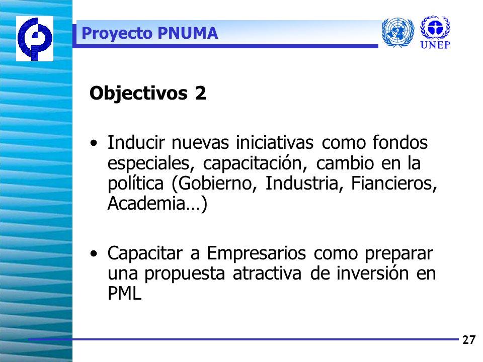 27 Objectivos 2 Inducir nuevas iniciativas como fondos especiales, capacitación, cambio en la política (Gobierno, Industria, Fiancieros, Academia…) Capacitar a Empresarios como preparar una propuesta atractiva de inversión en PML Proyecto PNUMA