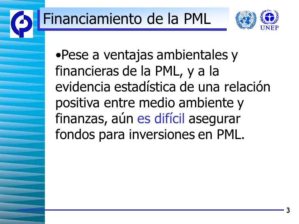 3 Financiamiento de la PML Pese a ventajas ambientales y financieras de la PML, y a la evidencia estadística de una relación positiva entre medio ambiente y finanzas, aún es difícil asegurar fondos para inversiones en PML.