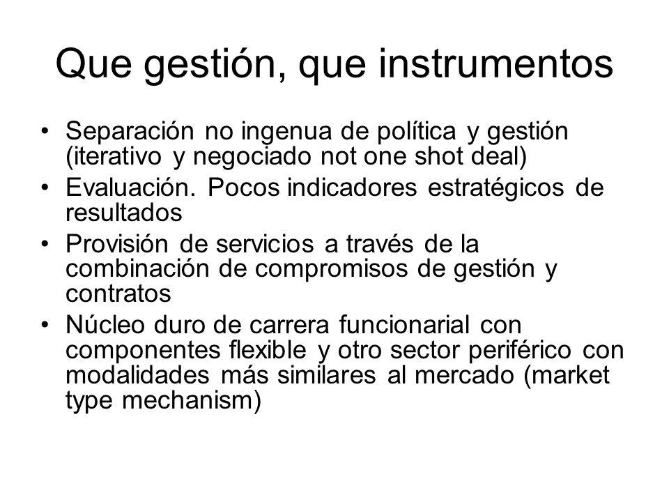 Que gestión, que instrumentos Separación no ingenua de política y gestión (iterativo y negociado not one shot deal) Evaluación.