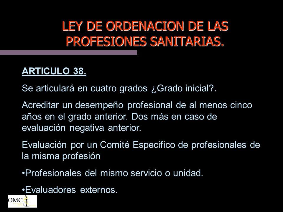 LEY DE ORDENACION DE LAS PROFESIONES SANITARIAS.ARTICULO 38.