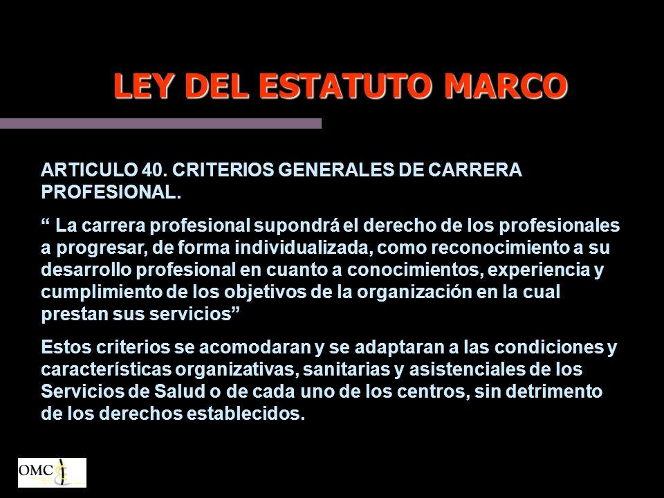 LEY DEL ESTATUTO MARCO ARTICULO 40.CRITERIOS GENERALES DE CARRERA PROFESIONAL.