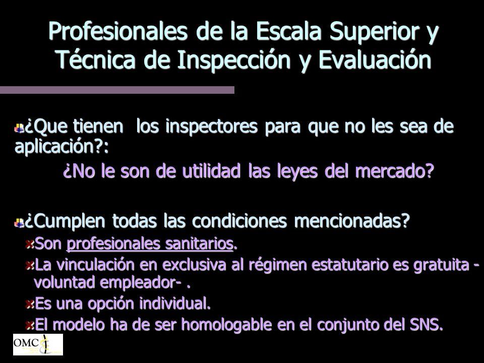 Profesionales de la Escala Superior y Técnica de Inspección y Evaluación ¿Que tienen los inspectores para que no les sea de aplicación?: ¿No le son de utilidad las leyes del mercado.