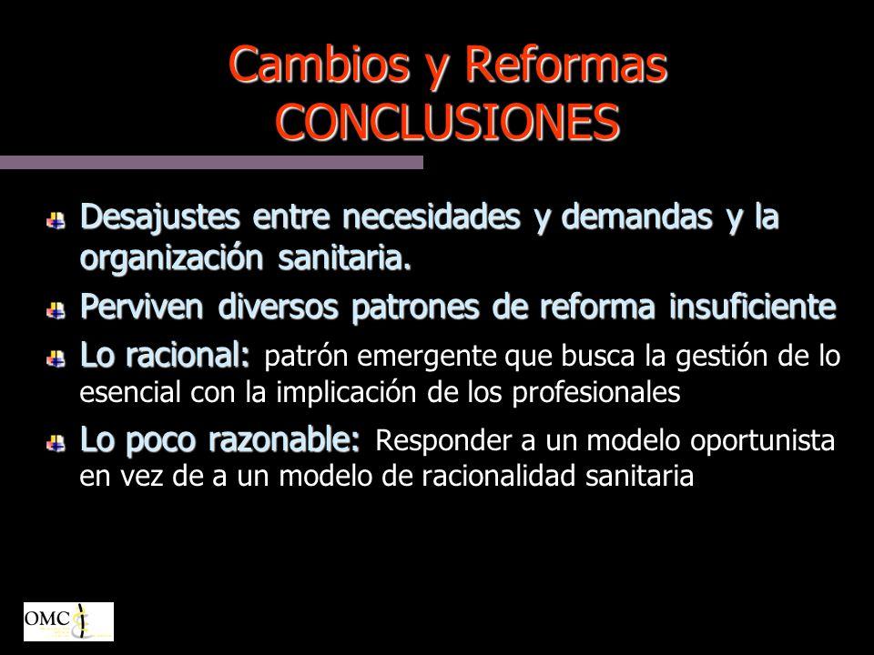 Cambios y Reformas CONCLUSIONES Desajustes entre necesidades y demandas y la organización sanitaria.