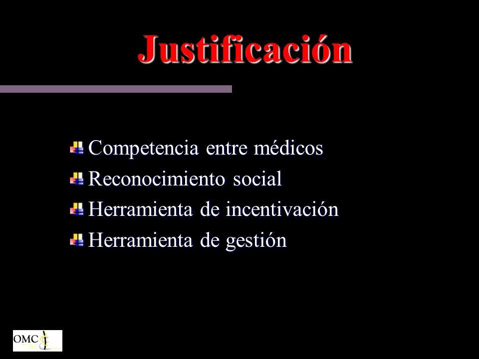 Justificación Competencia entre médicos Reconocimiento social Herramienta de incentivación Herramienta de gestión