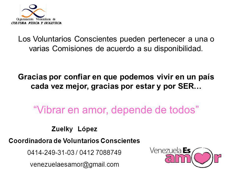 Los Voluntarios Conscientes pueden pertenecer a una o varias Comisiones de acuerdo a su disponibilidad.