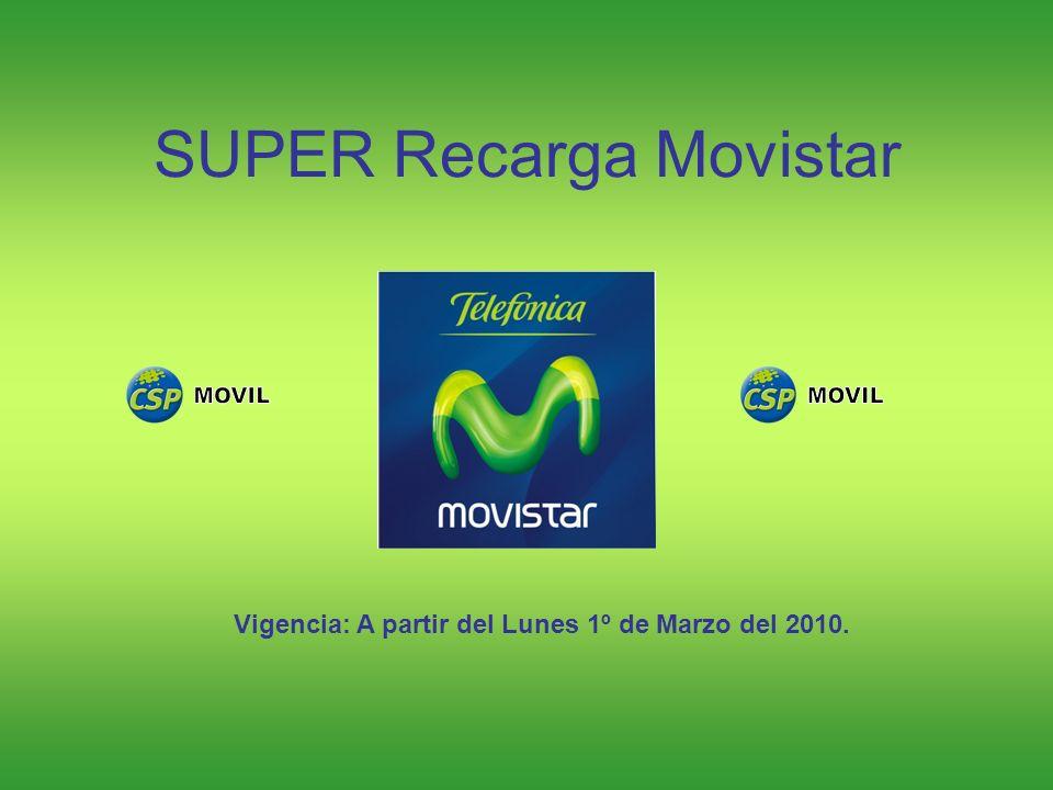 Estimado Distribuidor, hacemos de tu conocimiento que a partir del día Lunes 1º de Marzo del 2010, estaremos lanzando al mercado el producto denominado SUPER Recarga Movistar.