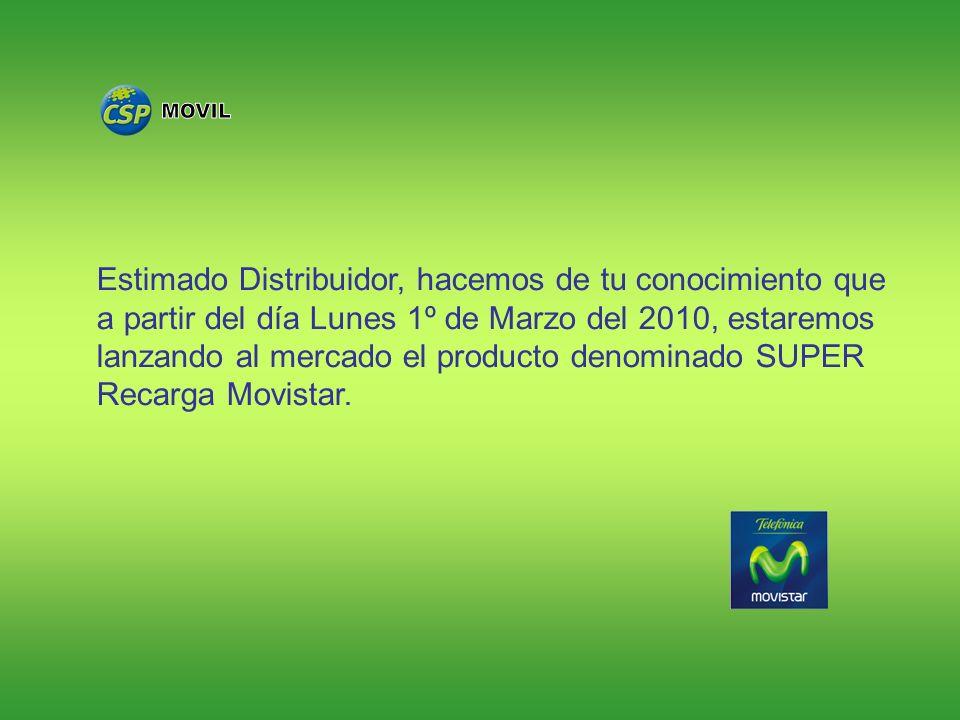 Estimado Distribuidor, hacemos de tu conocimiento que a partir del día Lunes 1º de Marzo del 2010, estaremos lanzando al mercado el producto denominad