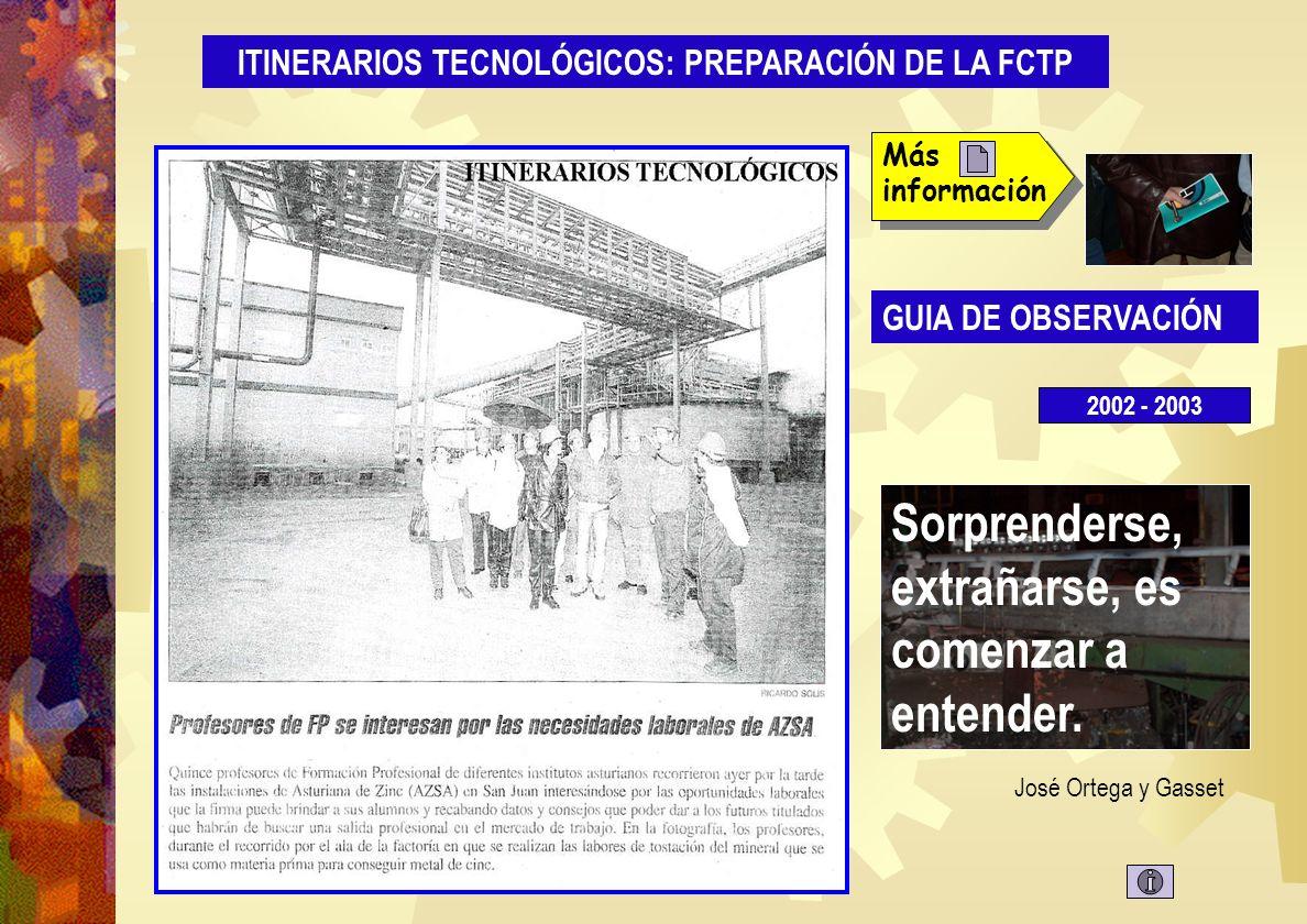 Oferta FPE 2 http://www.educastur.princast.es/guiafp/fct.php ITINERARIOS TECNOLÓGICOS: PREPARACIÓN DE LA FCTP S iempre que te pregunten si puedes hacer un trabajo, contesta que si y ponte enseguida a aprender como se hace.