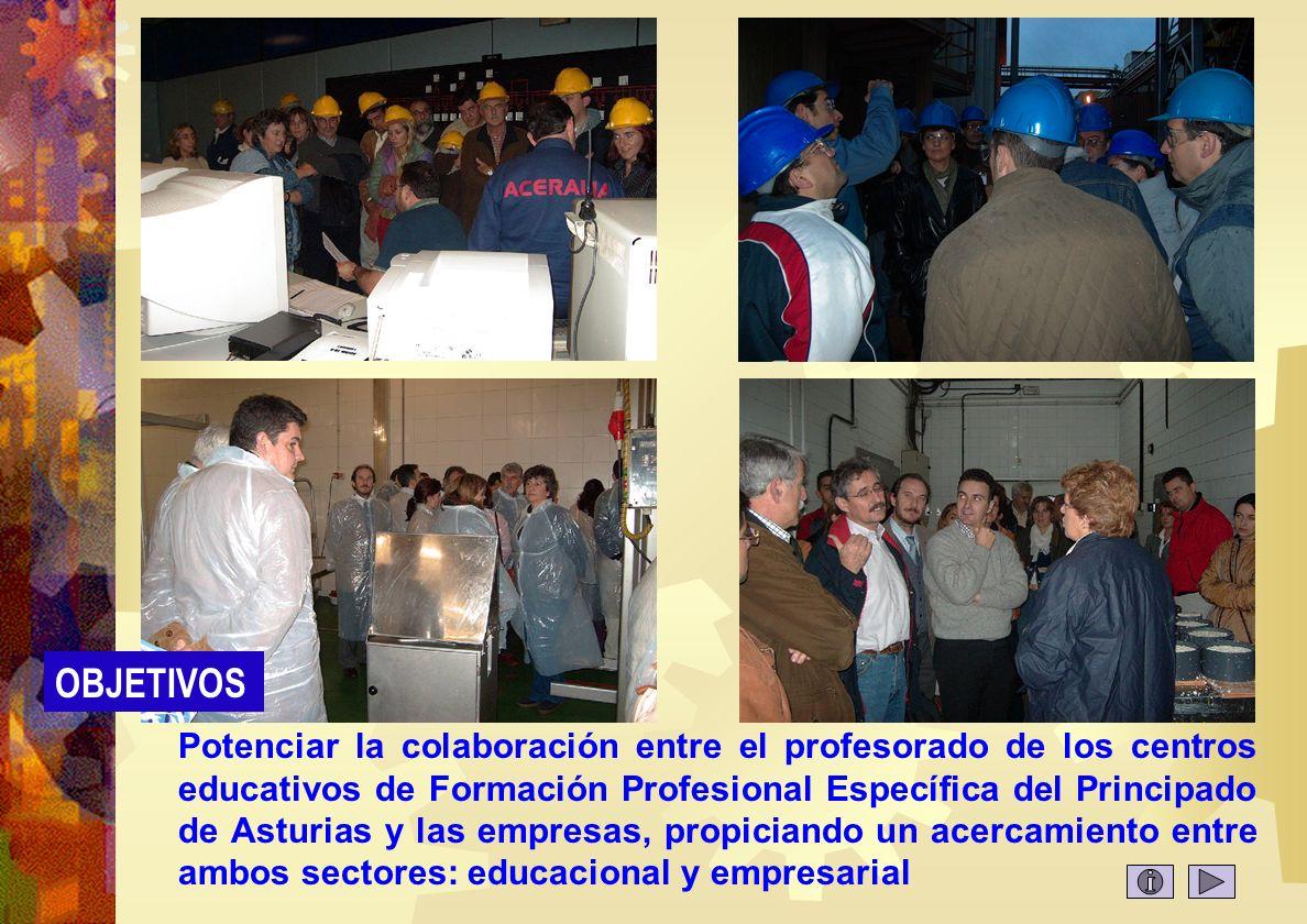 Objetivos 1 Potenciar la colaboración entre el profesorado de los centros educativos de Formación Profesional Específica del Principado de Asturias y las empresas, propiciando un acercamiento entre ambos sectores: educacional y empresarial OBJETIVOS