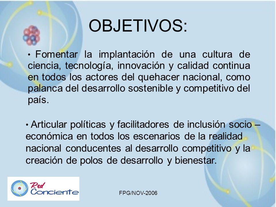 FPG/NOV-2006 OBJETIVOS: Fomentar la implantación de una cultura de ciencia, tecnología, innovación y calidad continua en todos los actores del quehace