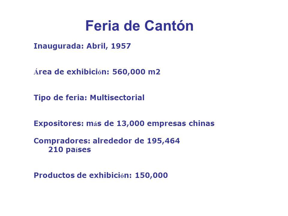 Inaugurada: Abril, 1957 Á rea de exhibici ó n: 560,000 m2 Tipo de feria: Multisectorial Expositores: m á s de 13,000 empresas chinas Compradores: alrededor de 195,464 210 pa í ses Productos de exhibici ó n: 150,000 Feria de Cantón