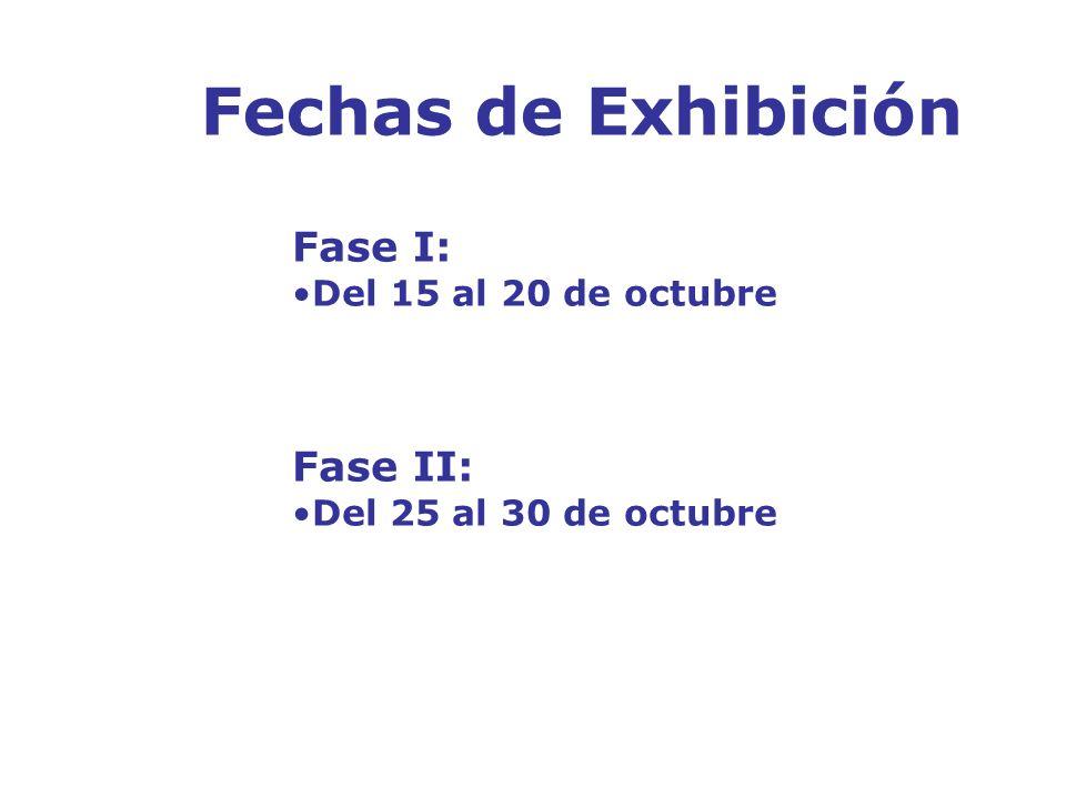 Fechas de Exhibición Fase I: Del 15 al 20 de octubre Fase II: Del 25 al 30 de octubre