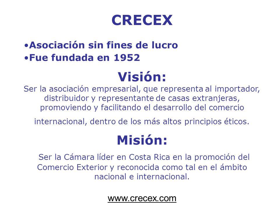 CRECEX Asociación sin fines de lucro Fue fundada en 1952 Visión: Ser la asociación empresarial, que representa al importador, distribuidor y represent