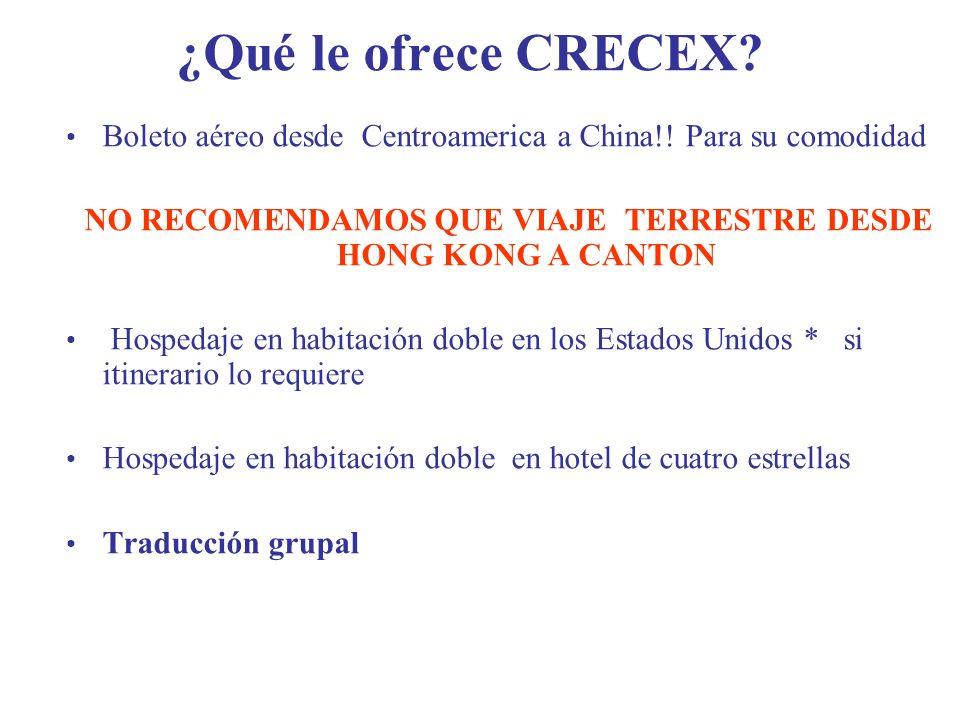 ¿Qué le ofrece CRECEX.Boleto aéreo desde Centroamerica a China!.
