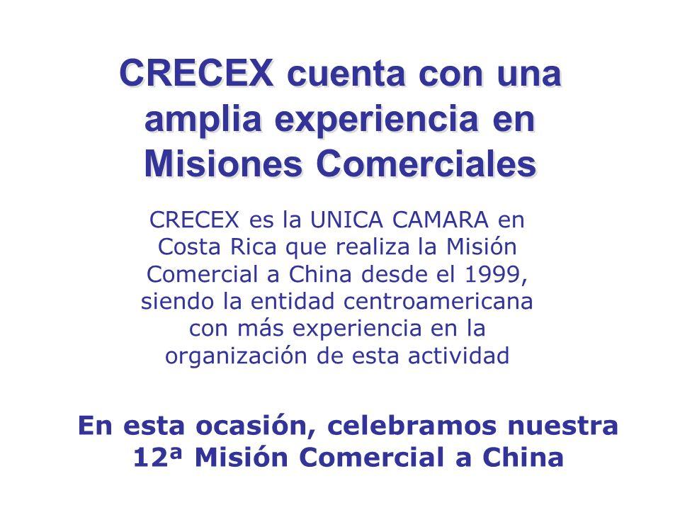 CRECEX cuenta con una amplia experiencia en Misiones Comerciales CRECEX es la UNICA CAMARA en Costa Rica que realiza la Misión Comercial a China desde el 1999, siendo la entidad centroamericana con más experiencia en la organización de esta actividad En esta ocasión, celebramos nuestra 12ª Misión Comercial a China