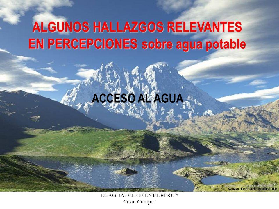 EL AGUA DULCE EN EL PERU * César Campos ALGUNOS HALLAZGOS RELEVANTES EN PERCEPCIONES sobre agua potable ACCESO AL AGUA