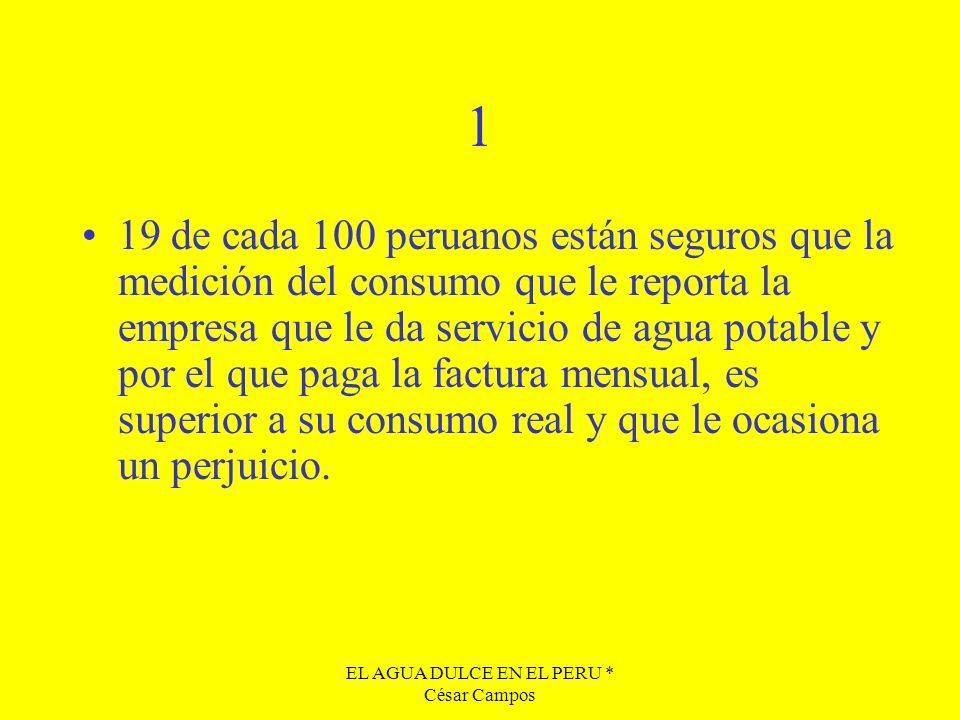 EL AGUA DULCE EN EL PERU * César Campos 1 19 de cada 100 peruanos están seguros que la medición del consumo que le reporta la empresa que le da servic