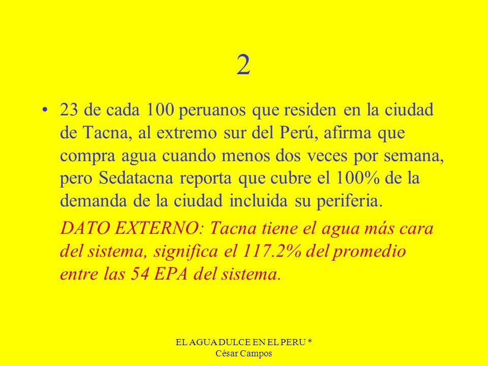 EL AGUA DULCE EN EL PERU * César Campos 2 23 de cada 100 peruanos que residen en la ciudad de Tacna, al extremo sur del Perú, afirma que compra agua c