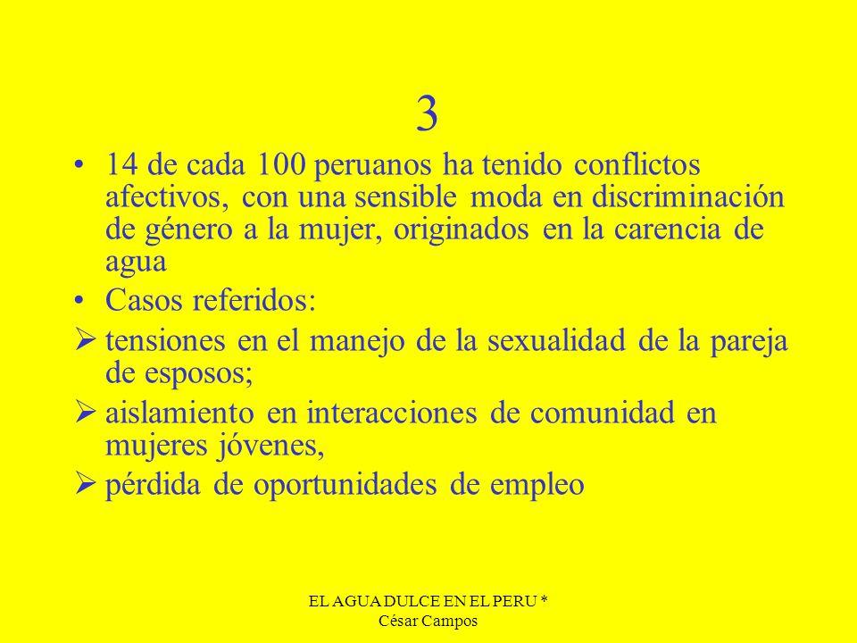 EL AGUA DULCE EN EL PERU * César Campos 3 14 de cada 100 peruanos ha tenido conflictos afectivos, con una sensible moda en discriminación de género a