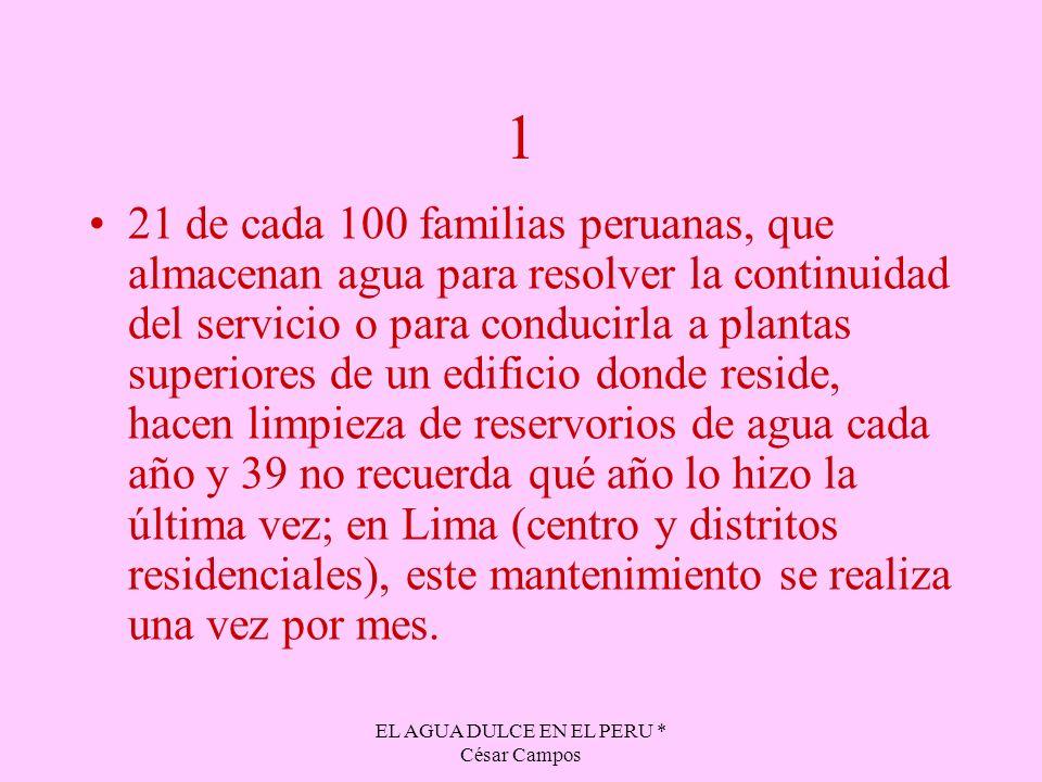 EL AGUA DULCE EN EL PERU * César Campos 1 21 de cada 100 familias peruanas, que almacenan agua para resolver la continuidad del servicio o para conduc