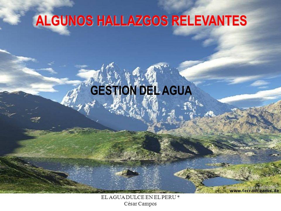 EL AGUA DULCE EN EL PERU * César Campos ALGUNOS HALLAZGOS RELEVANTES GESTION DEL AGUA