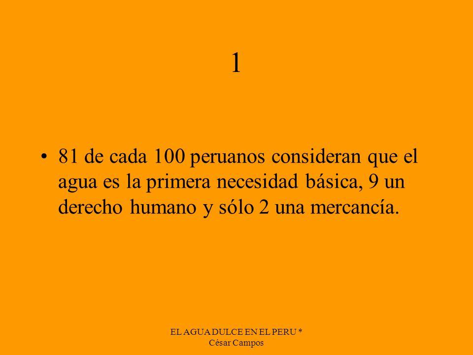 EL AGUA DULCE EN EL PERU * César Campos 1 81 de cada 100 peruanos consideran que el agua es la primera necesidad básica, 9 un derecho humano y sólo 2