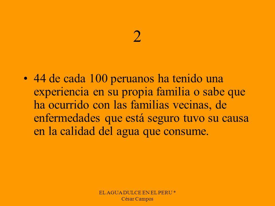 EL AGUA DULCE EN EL PERU * César Campos 2 44 de cada 100 peruanos ha tenido una experiencia en su propia familia o sabe que ha ocurrido con las famili