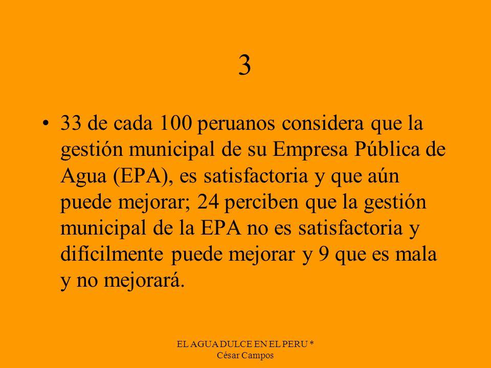EL AGUA DULCE EN EL PERU * César Campos 3 33 de cada 100 peruanos considera que la gestión municipal de su Empresa Pública de Agua (EPA), es satisfact