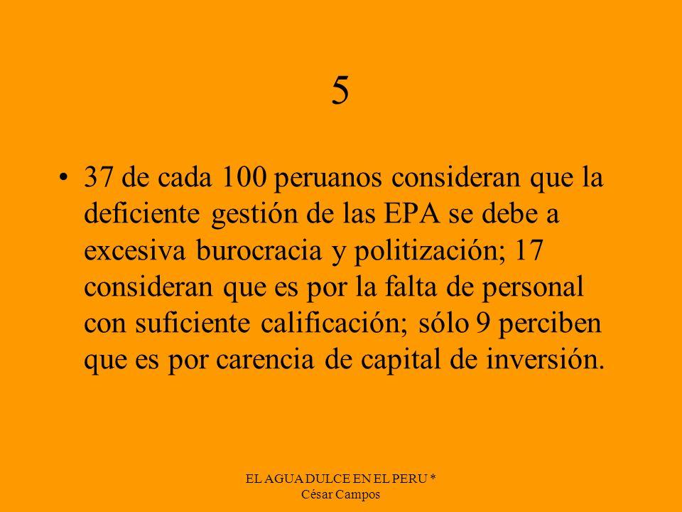 EL AGUA DULCE EN EL PERU * César Campos 5 37 de cada 100 peruanos consideran que la deficiente gestión de las EPA se debe a excesiva burocracia y poli