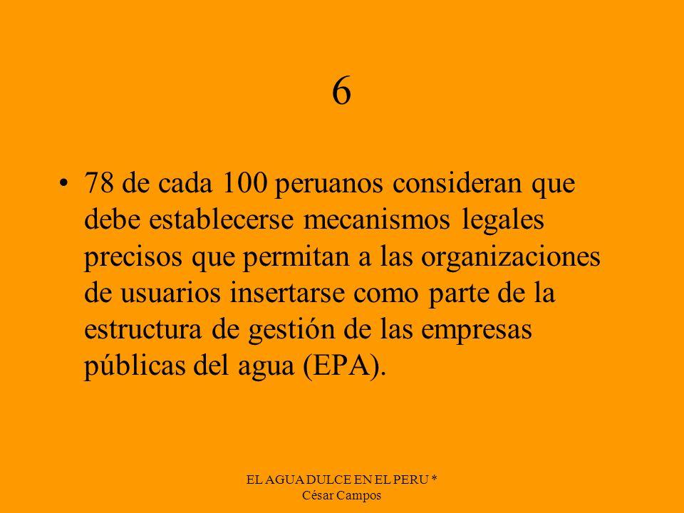 EL AGUA DULCE EN EL PERU * César Campos 6 78 de cada 100 peruanos consideran que debe establecerse mecanismos legales precisos que permitan a las orga