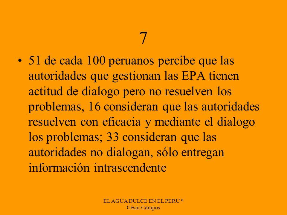 EL AGUA DULCE EN EL PERU * César Campos 7 51 de cada 100 peruanos percibe que las autoridades que gestionan las EPA tienen actitud de dialogo pero no